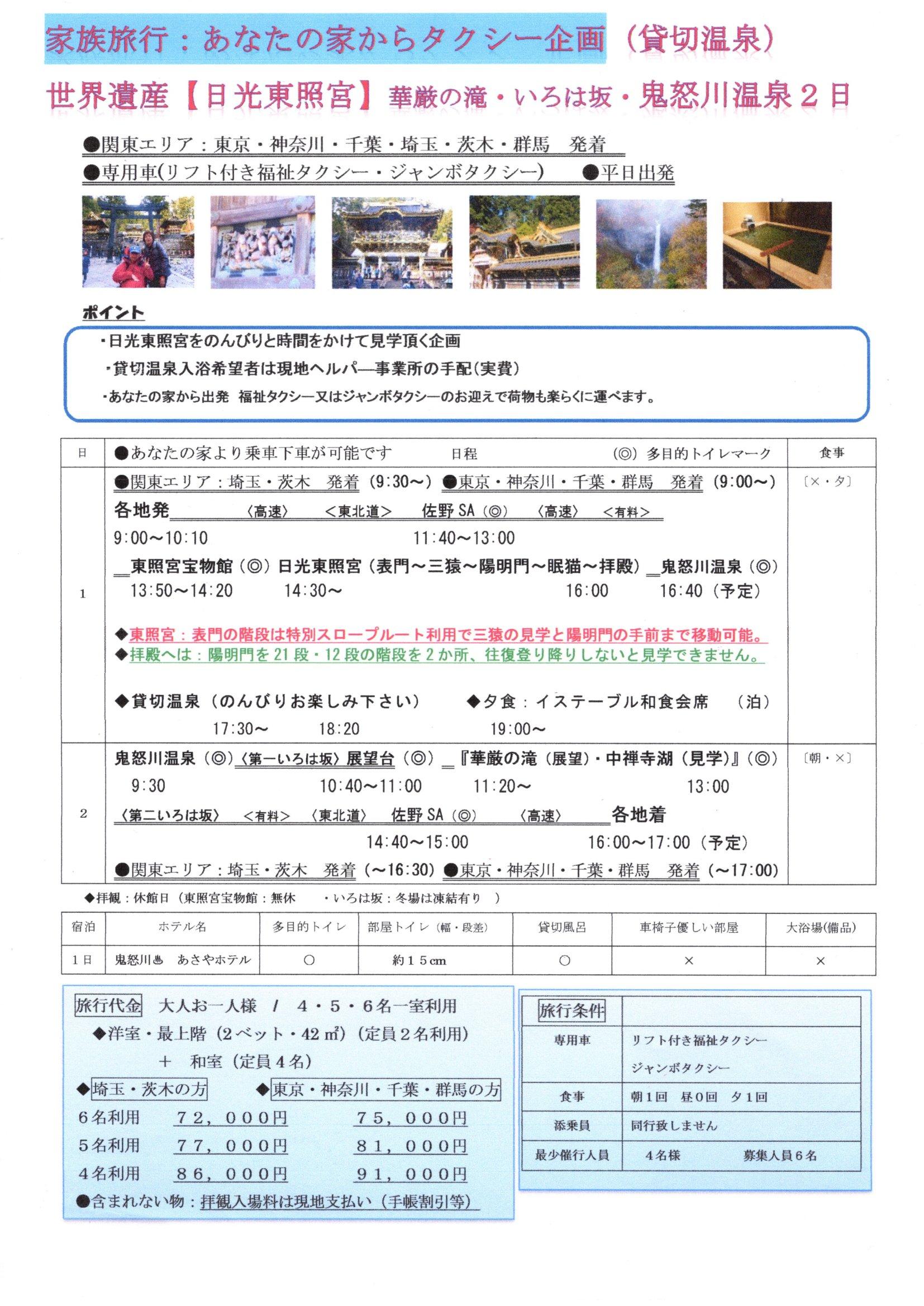 世界遺産日光東照宮・華厳の滝・のんびり鬼怒川温泉 2日