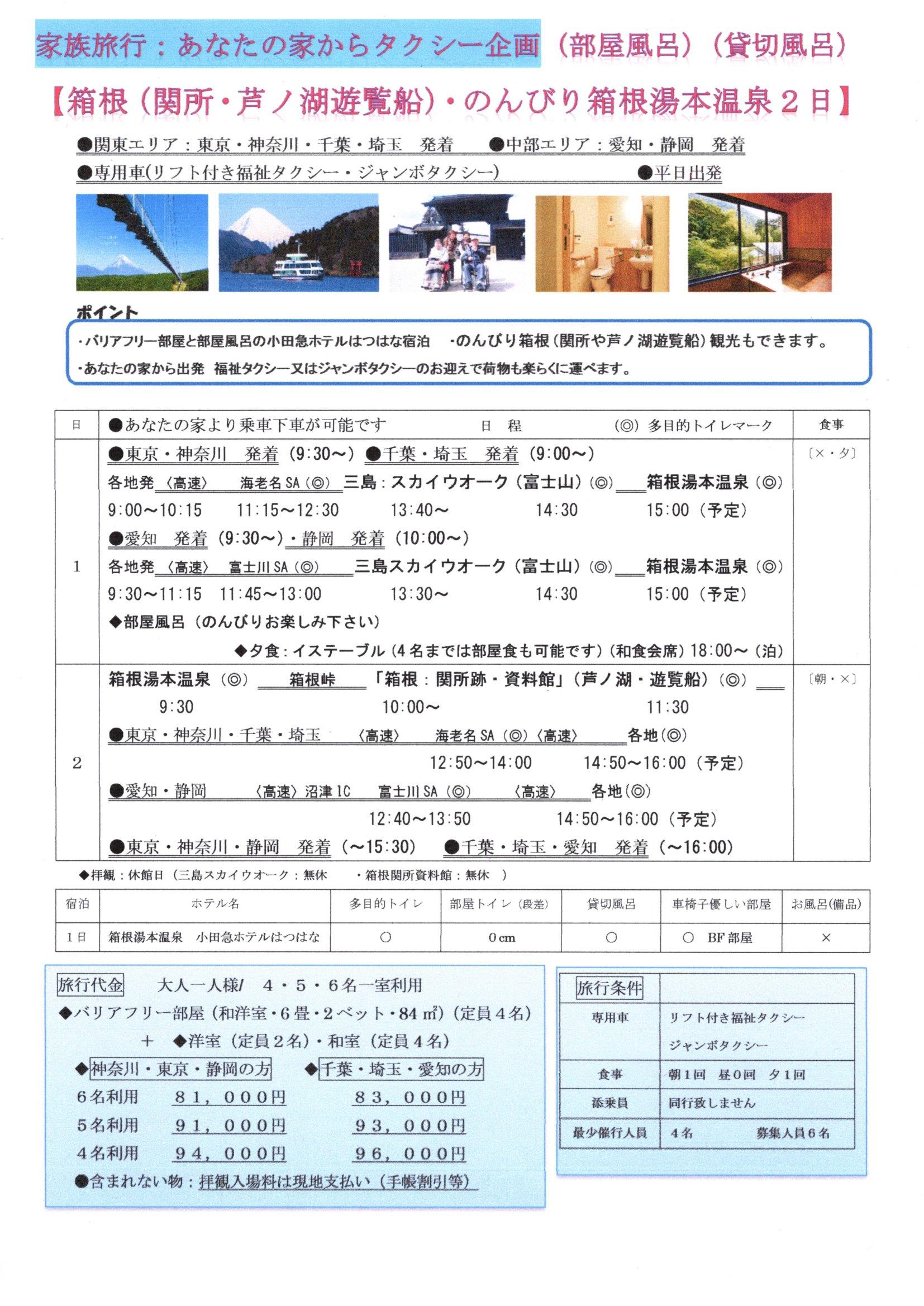 箱根(関所・芦ノ湖遊覧船)・のんびり箱根湯本温泉 2日