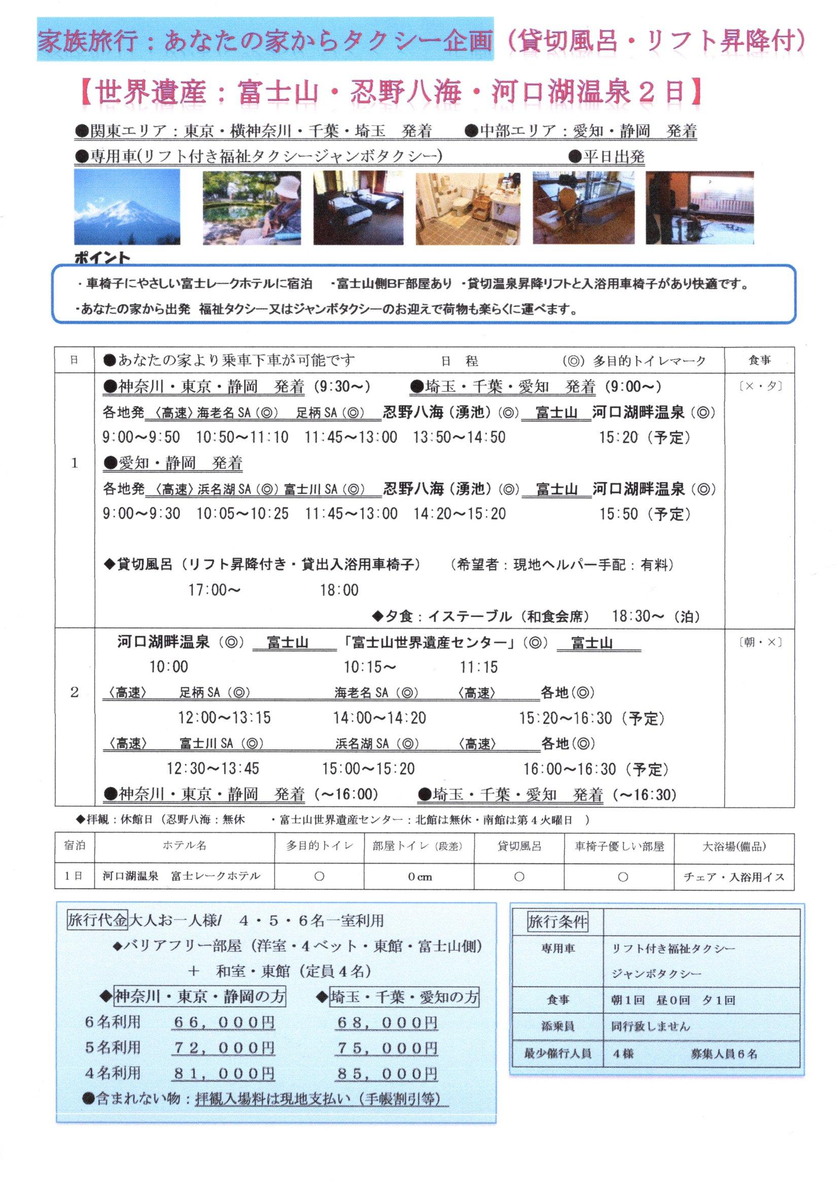 世界遺産富士山・忍野八海・のんびり河口湖温泉 2日